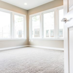 Empty bedroom entrance in new modern luxury apartment home with many large windows, bright light and carpet